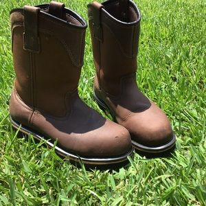 Steel Toe Boots Men's 7.5 Wide Pull Up Leather